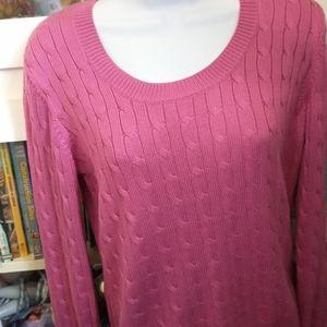 Ann Taylor fuscia silk/cotton sweater